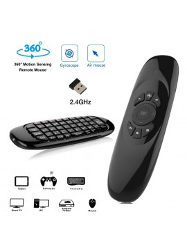 C120 Gyroscope 2.4G Air Mouse Rechargeable Wireless Keyboard Remote Control for Android TV Box Computer English Version