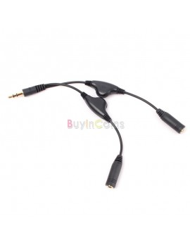 3.5mm Headphone Stereo Audio Y Splitter Cable Cord With Separate Volume Controls