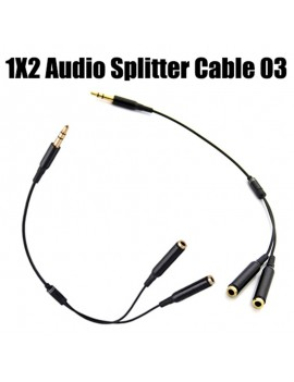 3.5MM Extension Earphone Headphone Audio Splitter Cable Cord Male to 2 Female #3 + HDMI Cable V1.4 1.8M Fine Line