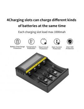4 Slots Multi-function Battery Charger Li-ion Li-fe Ni-MH Ni-CD Smart Charger for AA/AAA/18650/26650/6F22/16340/9V Battery