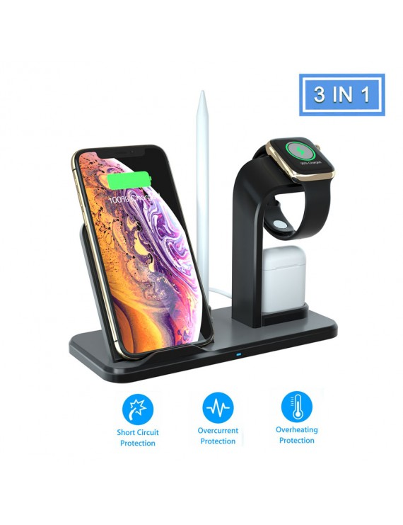 Removable 3 in 1 Wireless Charger Dock Stand Station Fast Charging For iphone iWatch Airpod