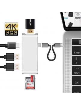 6-in-1 USB Type C Hub To HDMI Adapter Dock Dongle USB C Hub 3.0 Adapter With SD Slot For MacBook Pro 2016 2017