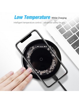 10W Qi Wireless Charger for iPhone X/XS Max XR 8 Plus Visible Element Wireless Charging pad for Samsung S8 S9 Xiaomi mi 9