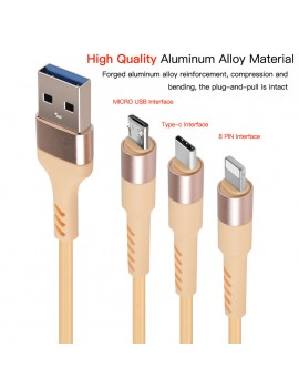 3in1 USB Cable 8Pin Micro USB Type C Charger Cable for iPhone X Samsung S9 Charging Cable Micro USB Charger Cord Charging Wire