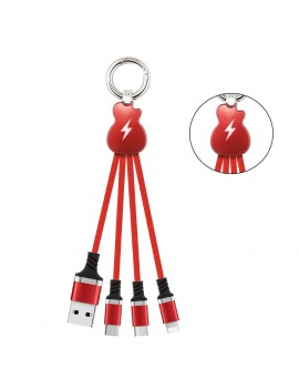 3 in 1 Nylon Braided Keychain USB Cable Micro USB Lightning  Charging Cable Key chain cable