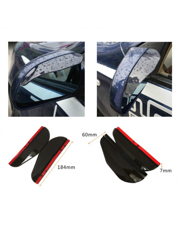 1 Pair PVC Car Rear View Mirror Sticker Rain Eyebrow Weatherstrip