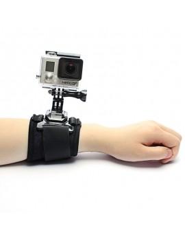JUSTONE J015 Sports Camera Arm Band Wrist Strap + J-shaped Mount for GoPro Hero 4/3 +/3/2/1/SJ4000 Black