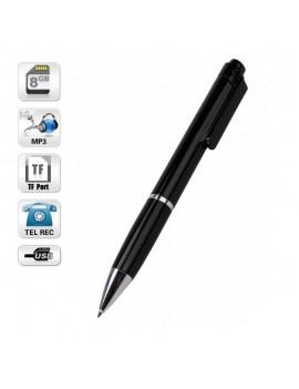 8GB Digital Voice Recorder Pen MP3/Extra Mic/TF/Button Control Black & Silver