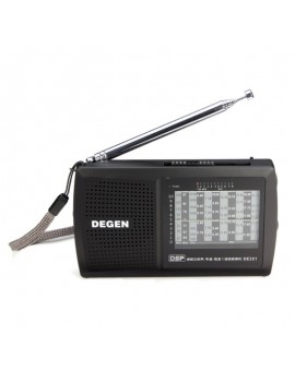 Degen DE321 FM Stereo Radio MW SW DSP World Band Receiver Black